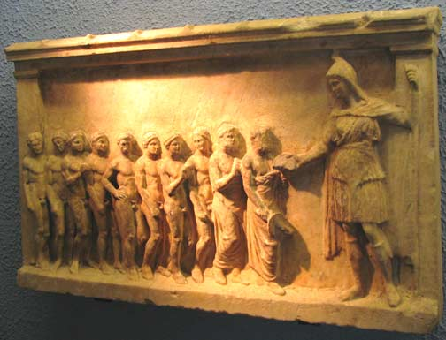 Thracian Goddess Bendis with devotees