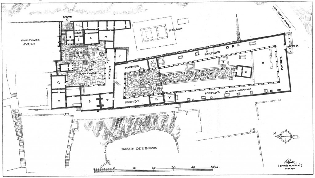 Plan of Sarapis Sanctuary C on Delos. Roussel 1915, plate 3. Public domain.