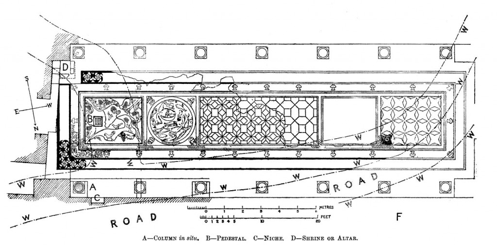 Drawing of mosaic section from above. Bonsanquet 1898, 67 (figure 4). Public domain.