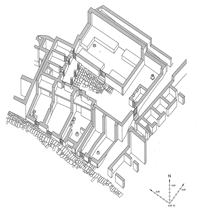Isometric drawing of phase 4 (1:250) of the peristyle house with the Hall of Benches.Schwarzer 2008, 63 (figure 17). Reproduced with permission.