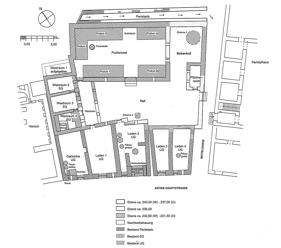 Plan of the Peristyle house (1:250) in phase 4 with the Hall of Benches (Podiensaal) seen at the top.Schwarzer 2008, 62 (figure 16). Reproduced with permission.