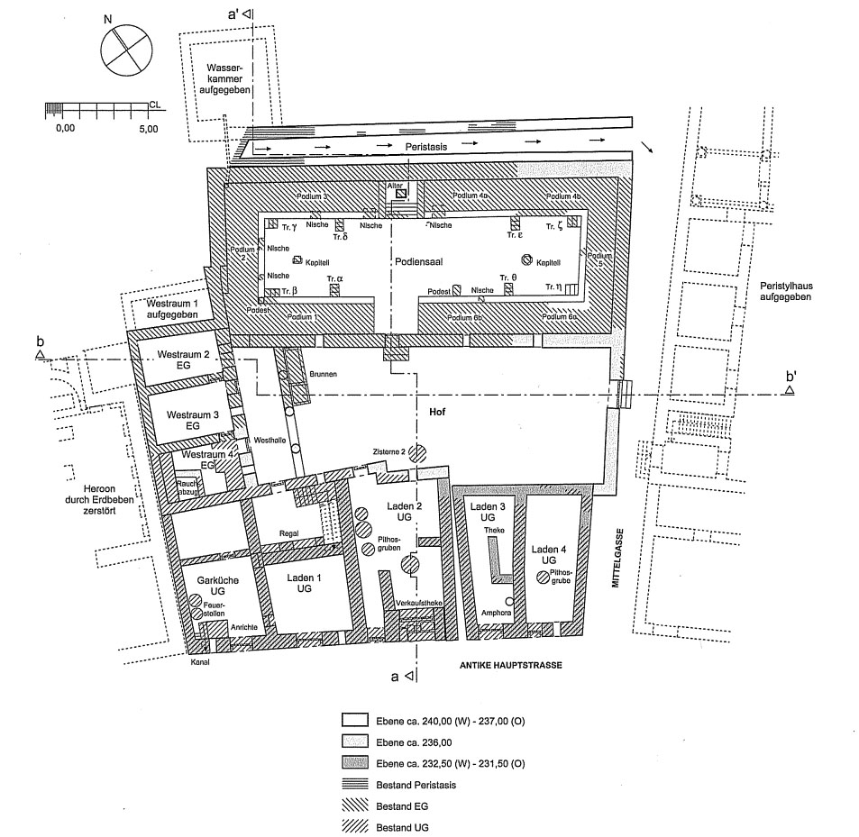Plan of the peristyle house with the Hall of Benches in phase 7 (the final imperial stage).Schwarzer 2008, 73 (figure 23). Reproduced with permission.