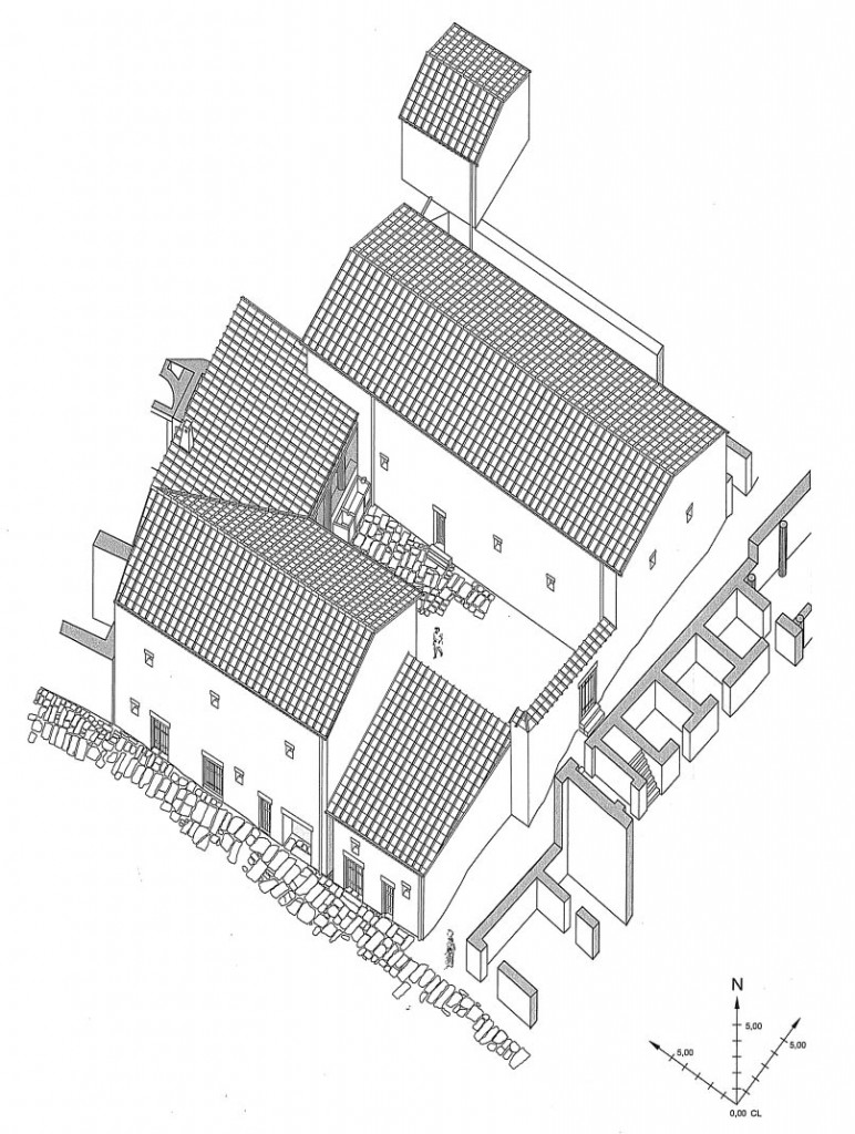 Reconstruction of the converted peristyle house (1:250) with the Hall of Benches under the roof in the top portion (phases 6-7, the final imperial stages). Schwarzer 2008, 70 (figure 22). Reproduced with permission.