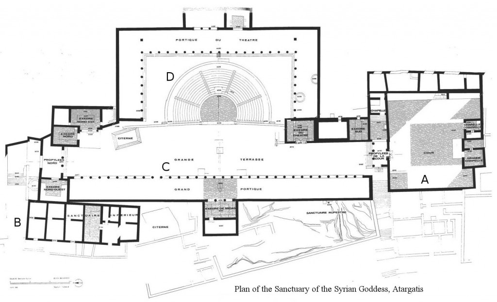 Plan of the Sanctuary of Atargatis on Delos.Adapted from Will 1985.