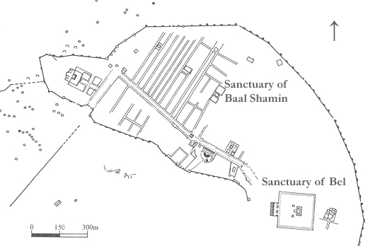 Plan of Palmyra showing the sanctuaries of Baal Shamin and Bel.
