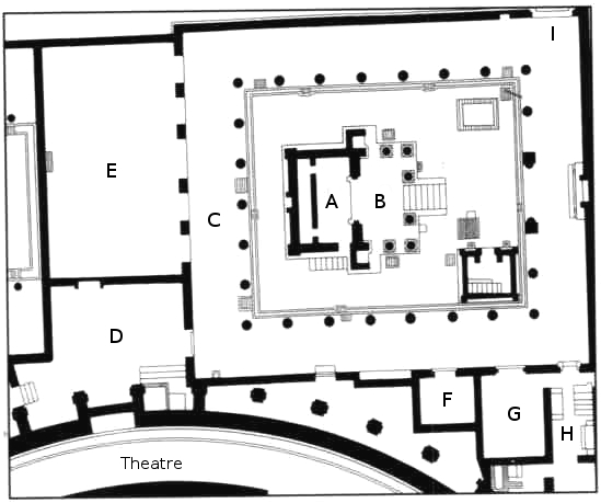 Plan of the Sanctuary of Isis at Pompeii. Adapted from Mau 1902. Public domain.