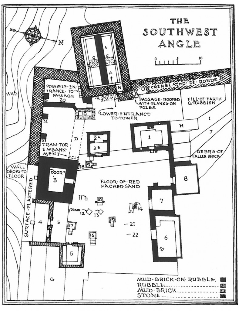Plan of the area of the sanctuary of Aphlad from the archaeological report, showing the banqueting hall (andrōn = room 1), the temple (2 a + b), and other banqueting rooms (5-6).Hopkins 1934, plate 1.