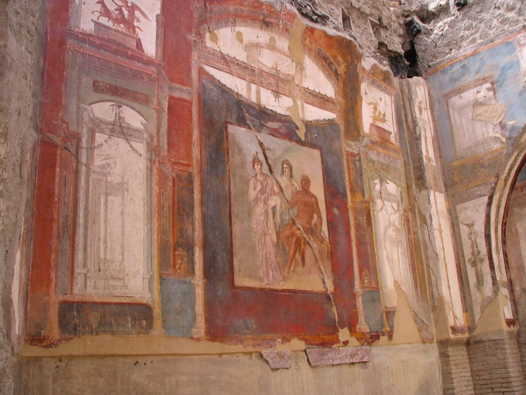 Fresco on the wall of the meeting-place of the Augustales at Herculaneum. Photo by Harland copyright 2017.Harland).
