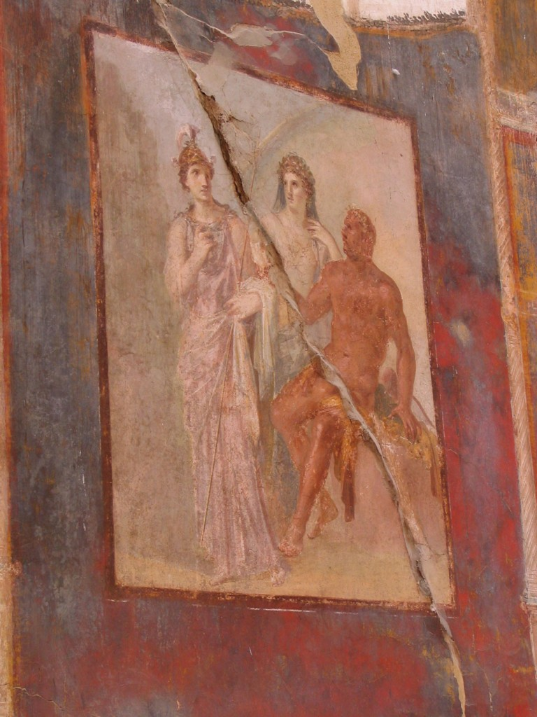Fresco depicting Hercules next to Juno and Minerva from the meeting-place of the Augustales at Herculaneum.Photo by Harland copyright 2017.