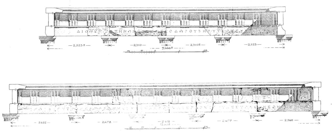 IDelos 1772: Drawing of the architraves from Picard 1921.
