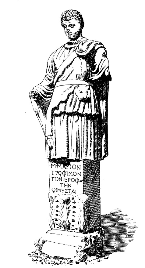 Statue of a hierophant from the Hall of Initiates. Bosanquet 1898, 74. Public domain.