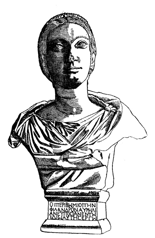 Drawing of the bust from the Hall of Initiates. Bosanquet 1898, 77. Public domain.