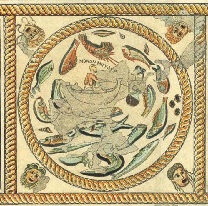 Melos Hall of Initiates fish mosaic